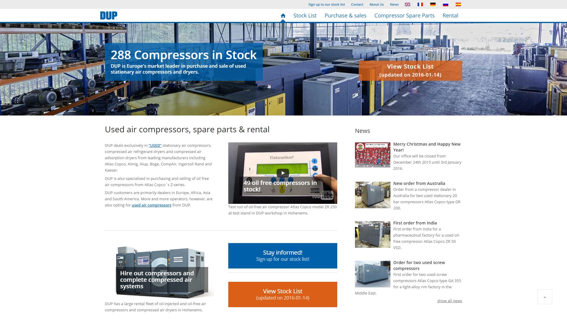 Website Relaunch für Europamarktführer DUP Compressors